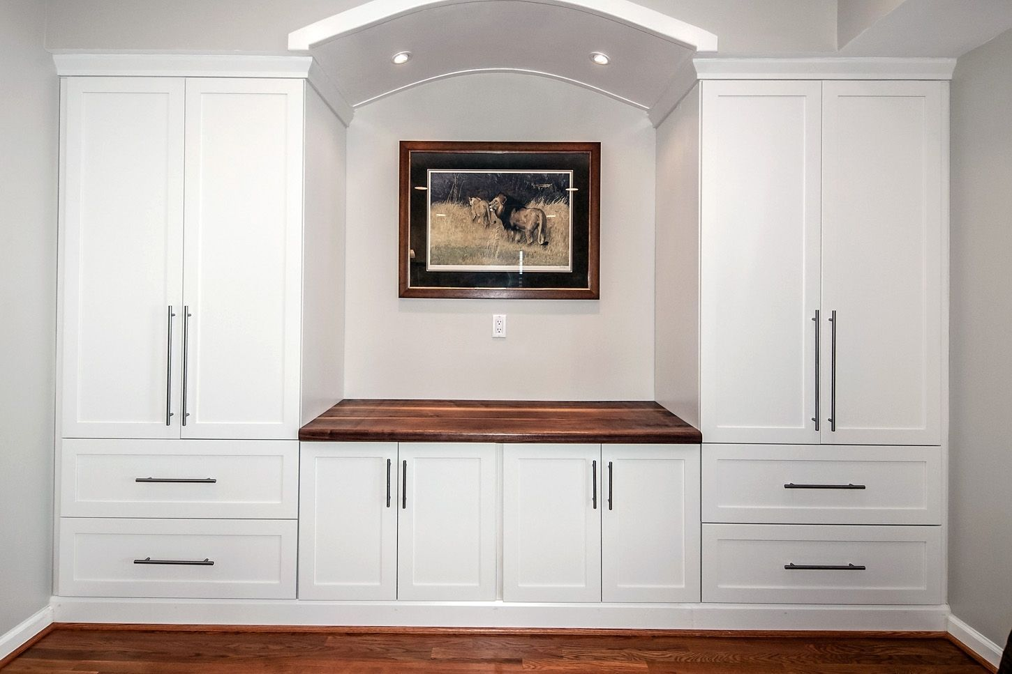 Custom built in counter top wall unit by design by jeff for In wall tv cabinet