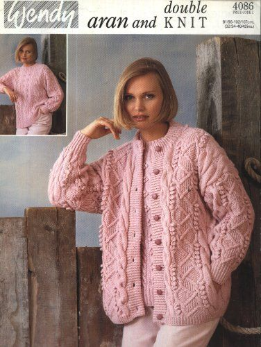 Wendy Knitting Pattern 4086 : Lady\'s Aran Cardigan and DK Sweater ...