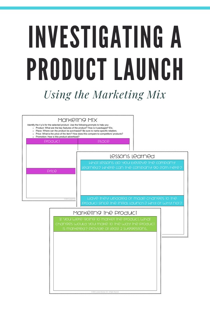 Investigating A New Product Launch With The Marketing Mix High School Activities Marketing Mix High School Material