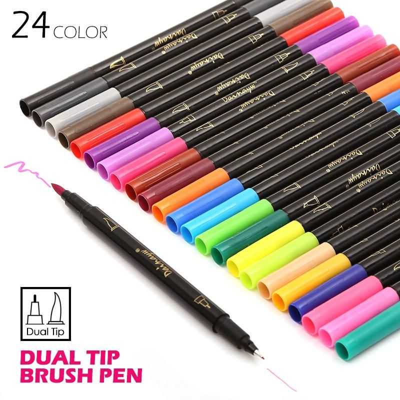 Art/&Graphic Drawing Manga Twin Tip Brush+Fine Sketch Marker Pen 12 Colors TY