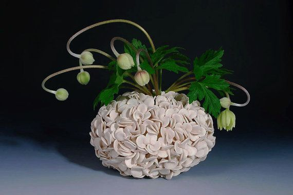 White Textured Ceramic Vase   Hydrangea by WhiteEarthStudio