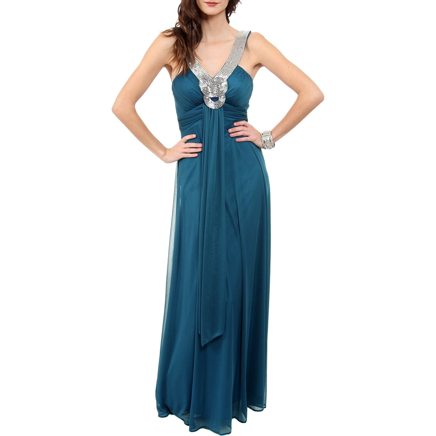 Dark teal long formal grecian dress exclusive to royaltag