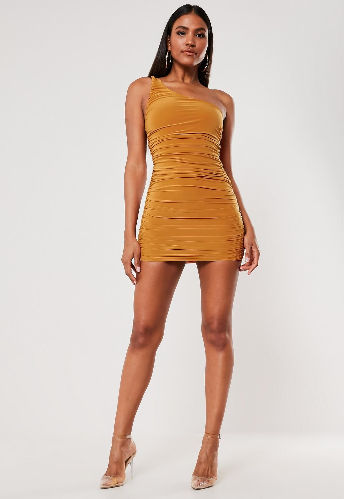 Sage One Shoulder Ruched Slinky Bodycon Mini Dress