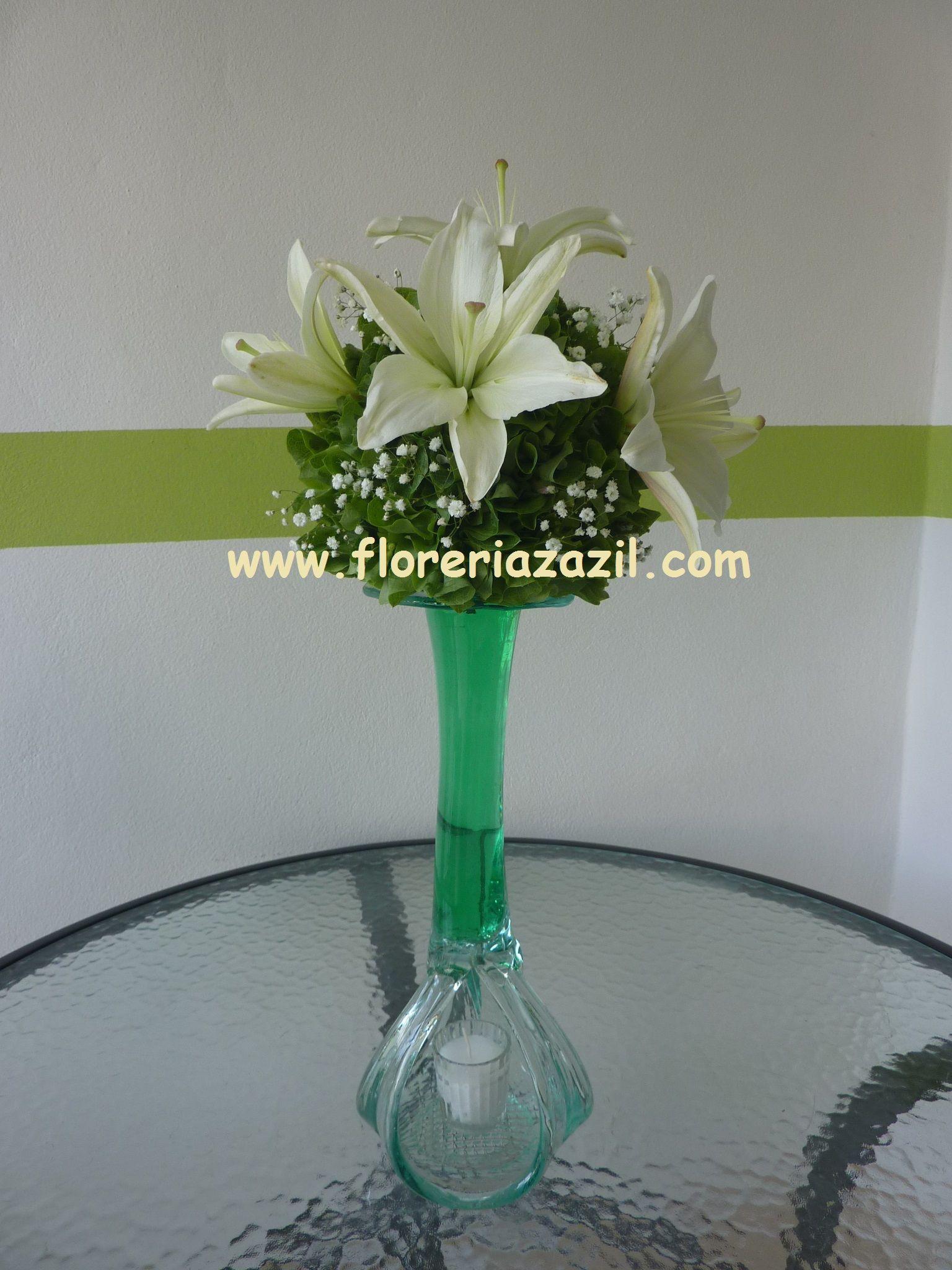 Centro de mesa blanco y verde centros de mesa verdes for Decoracion en cancun