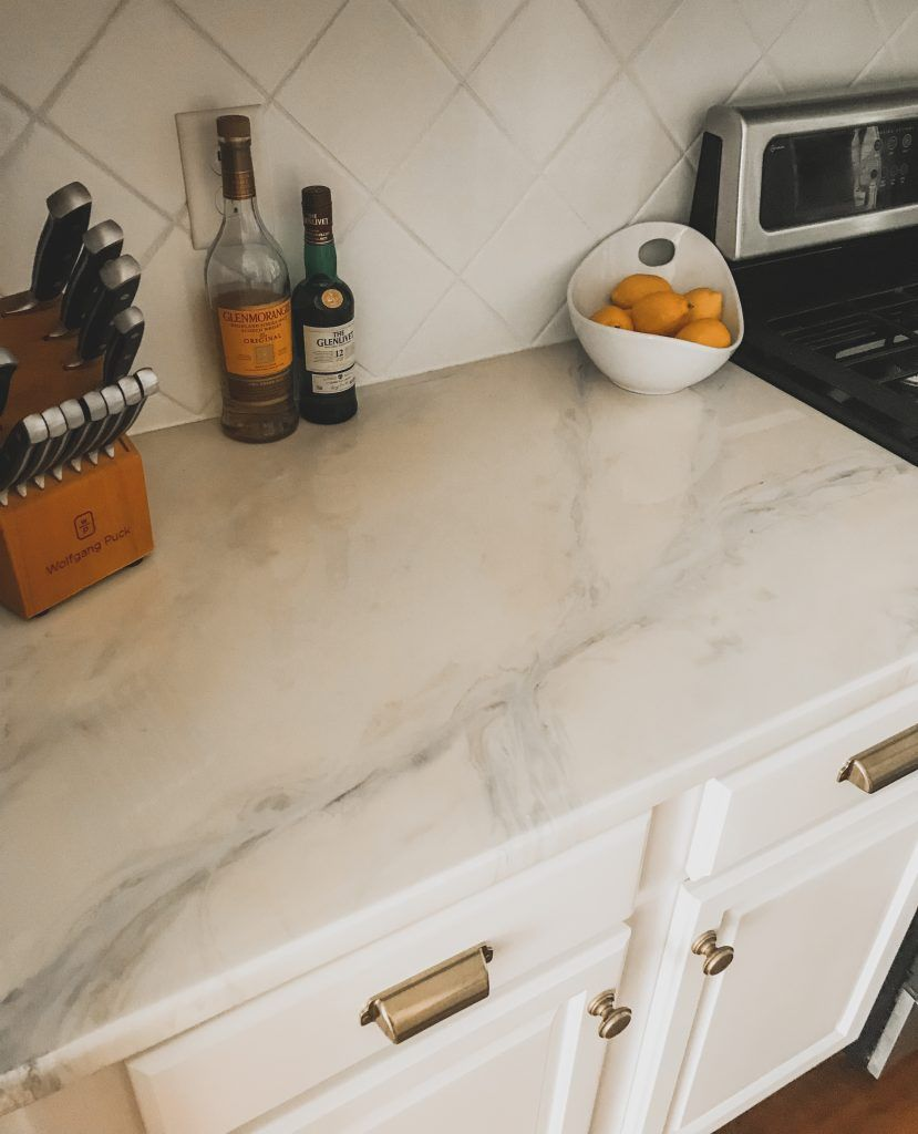 DIY Marble Countertops | Cover Old Granite or Laminate Counters | BreeAtLast.com #marblecountertops