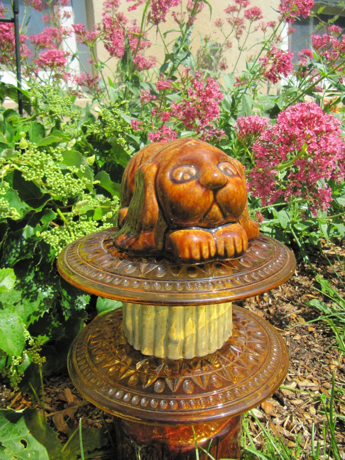 ceramic and glass garden art, garden totem, garden whimsy, dog theme ...