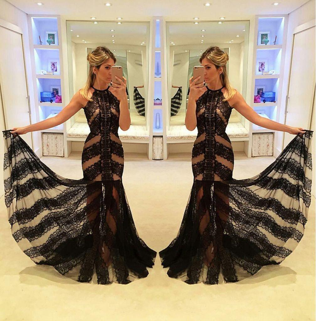 Prom glamblack trumpetmermaid halter sleeveless floorlength lace