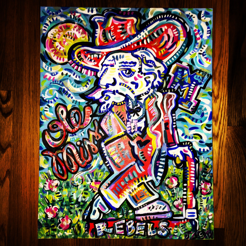 Ole miss rebelman painting ole miss ole miss rebels