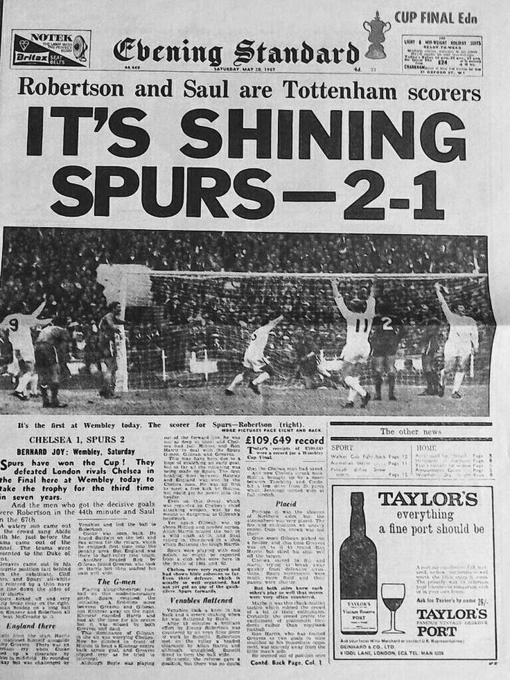 Tottenham  Chelsea In May  At Wembley Newspaper Report On