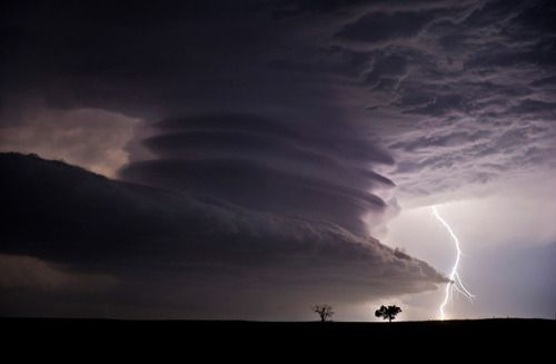 Stacked Supercell with Lightning: This huge mesocyclone supercell was near the Nebraska / Kansas border on the night of June 22nd, 2012. What a stunning structure! Photo by Jennifer Brindley.