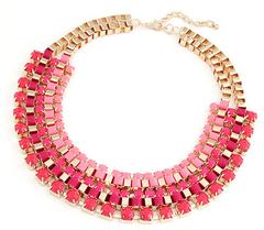 72d8e1be4531 Collar de bisuteria rosa con dorado