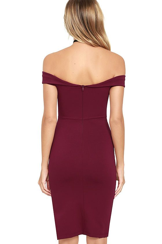 b562dbbc45b2 Don t be surprised if you catch somebody s eye in the Foxy Lady Burgundy  Off-the-Shoulder Bodycon Dress! Medium-weight stretch knit shapes this sexy  ...