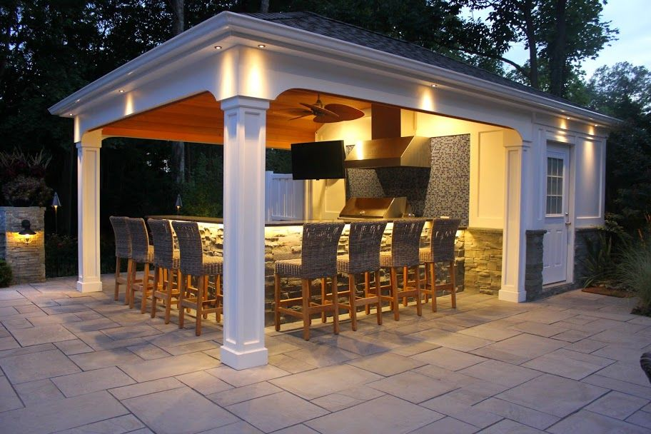 Outdoor Cabana 15' x 22' custom pool house/cabana with outdoor kitchen/bar