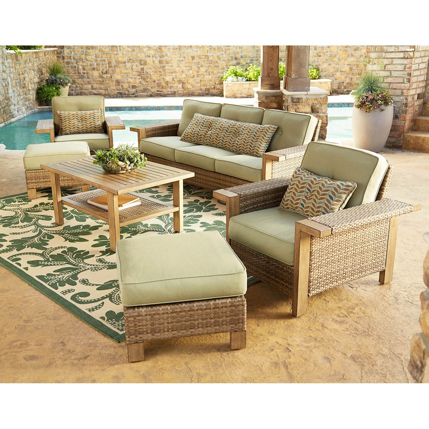 Manchester 6 Piece Deep Seating Set Modern Outdoor Lounge