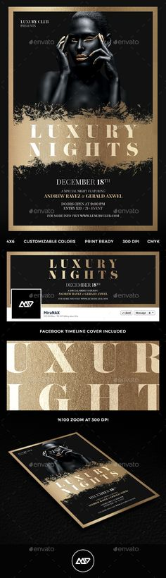 Luxury Nights Flyer  Party Flyer Psd Templates And Flyer Template