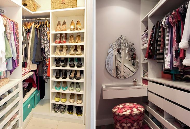 Como planejar decorar e organizar um closet pequeno for Closet para recamaras modernas
