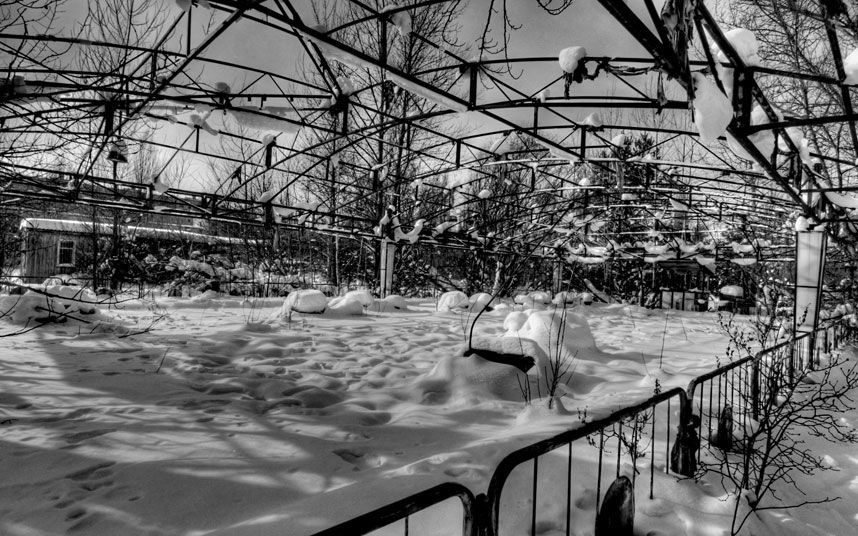 Snow-covered dodgems at the fairground