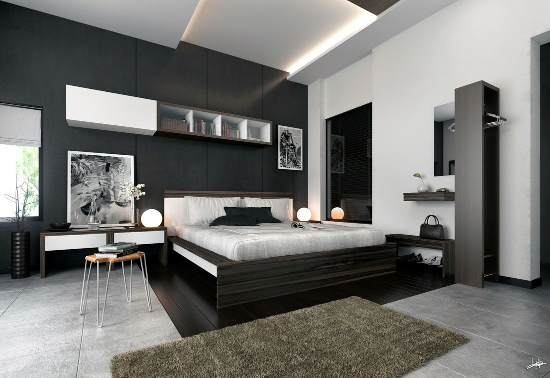 Grey Black White Master Bedroom Design Decorating Ideas Modern Concept Modern Bedroom Furniture Bedroom Interior Feature Wall Bedroom
