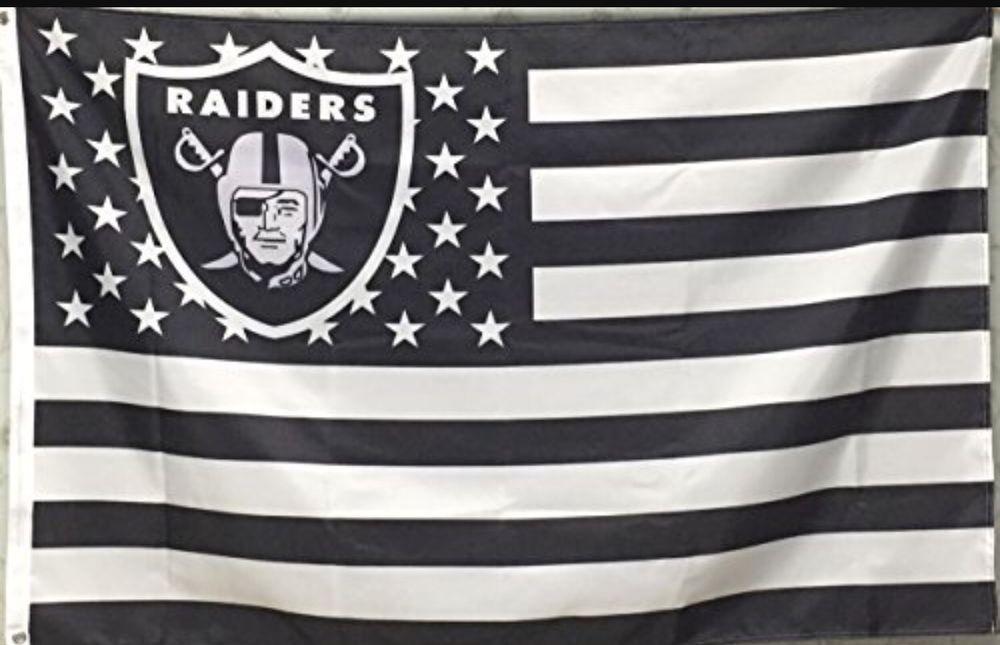 Oakland Raiders 3x5 Ft American Flag Football New In Packaging Sports Mem Cards Amp Fan Shop Fan Appa Raiders Flag American Flag Football Oakland Raiders