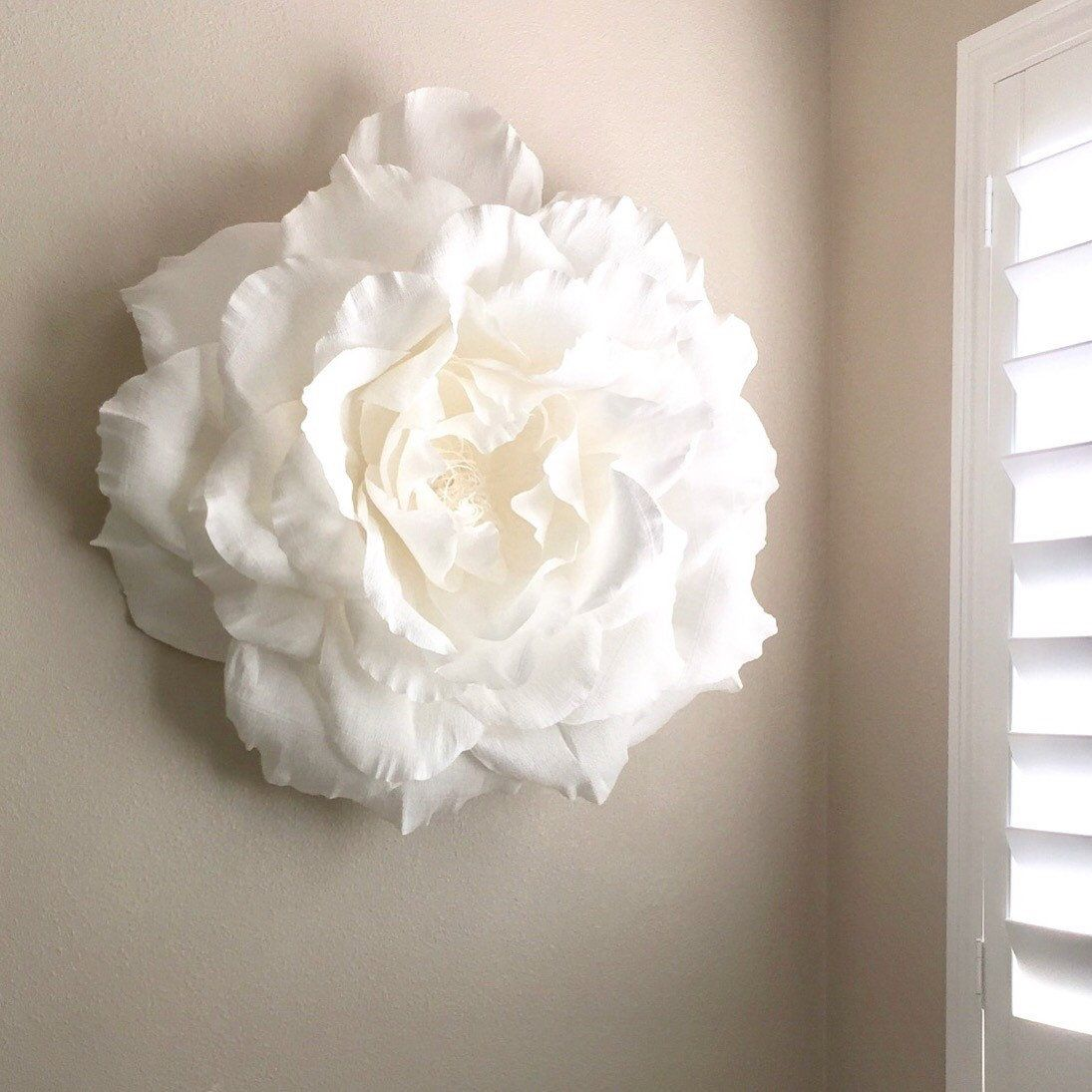 Giant Paper Rose-Crepe Paper Rose-Paper Flowers-Nursery Wall Decor-Paper Flower Wall Decor-Giant Paper Flowers-Boho Nursery Decor-Floral #crepepaperroses