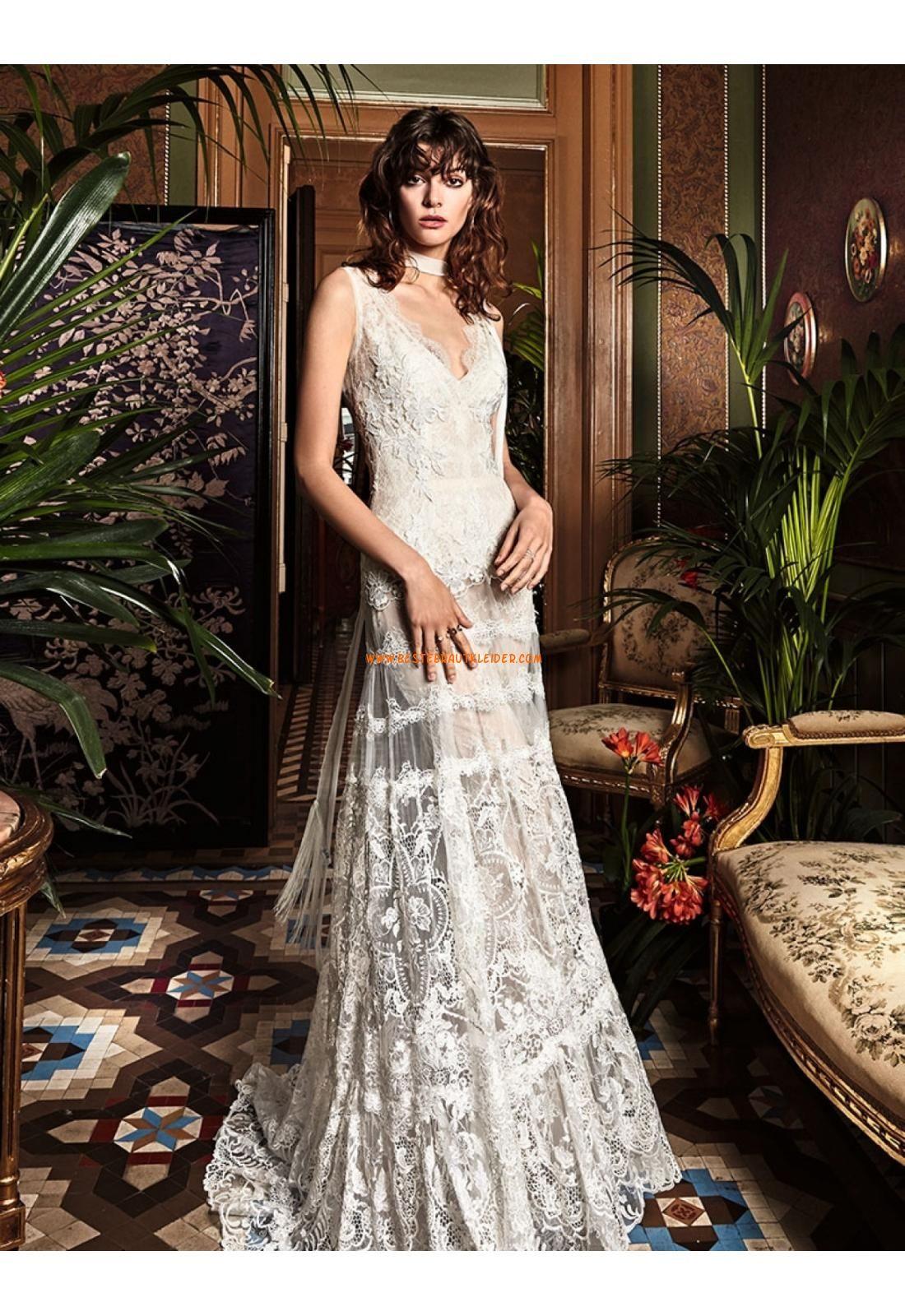 A-linie Glamouröse Wunderschöne Brautkleider aus Spitze mit Schleppe ...