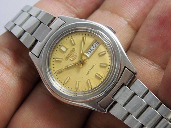 Automatic Watch Seiko 5 Automatic Ladies Women Working Yellow Brand Name Watches Seiko 5 Automatic Vintage Watches