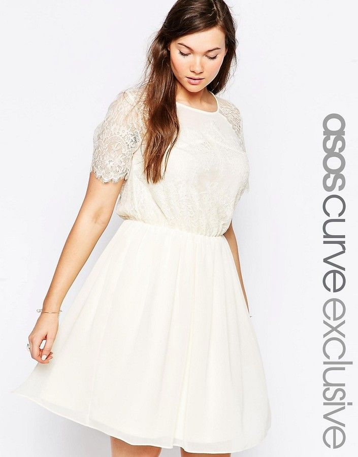 ASOS Curve ASOS CURVE Skater Dress In Patchwork Eyelash Lace
