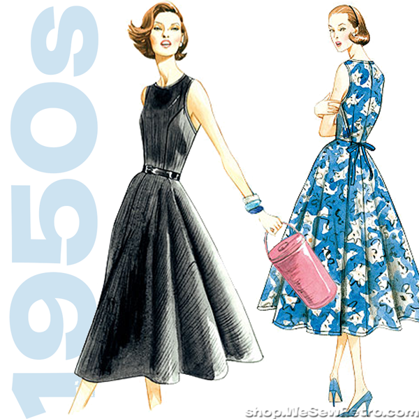 V8788 1950s Vintage Vogue Sewing Pattern: Back Wrap Dress Pattern ...