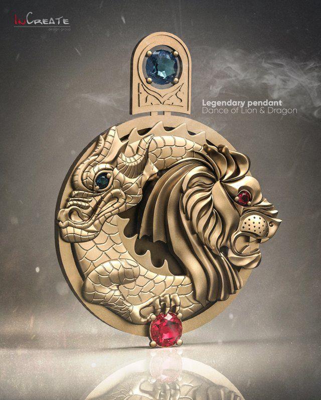 Dancing of Lion Dragon Pendant 3D Model  max  c4d  obj  3ds  fbx