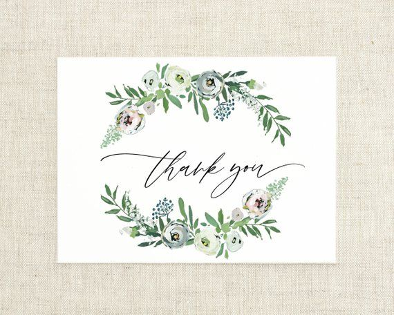 Floral Thank You Cards Wedding Calligraphy Thank You Card Set