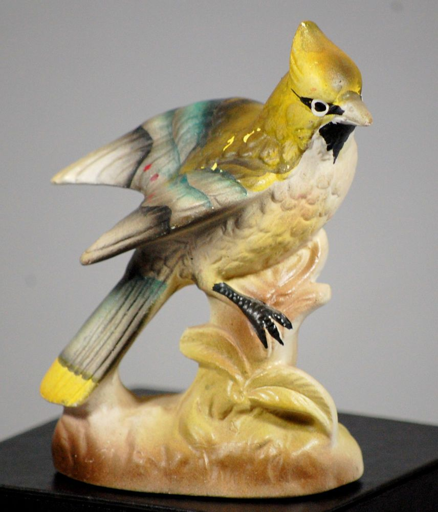 Vintage Enesco Yellow Cardinal Bird Figurine 1960s