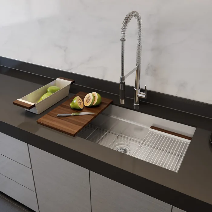 Smartstation 49 1 2 Kitchen Sink Fireclay Sink Stainless Steel