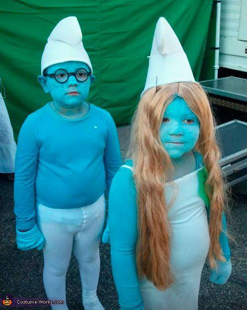 Smurfs costume, carnival for kids - Disfraz pitufos, carnaval para niños, disfraces de dibujos