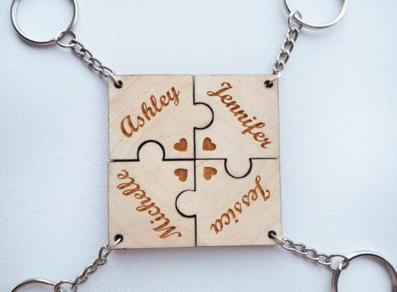 4 Ever Friends Personalised 4 Piece Jigsaw Keyrings Solid Wood Keyring