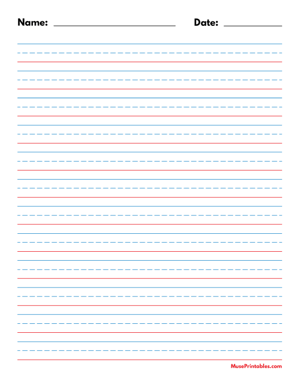 Printable Blue And Red Name And Date Handwriting Paper (1/2-inch Portrait)  For Letter Paper. Fr… Handwriting Paper, Handwriting Paper Template, Free  Writing Paper