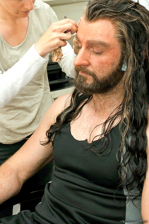 Makeup session - turning Richard Armitage into Thorin Oakenshield.