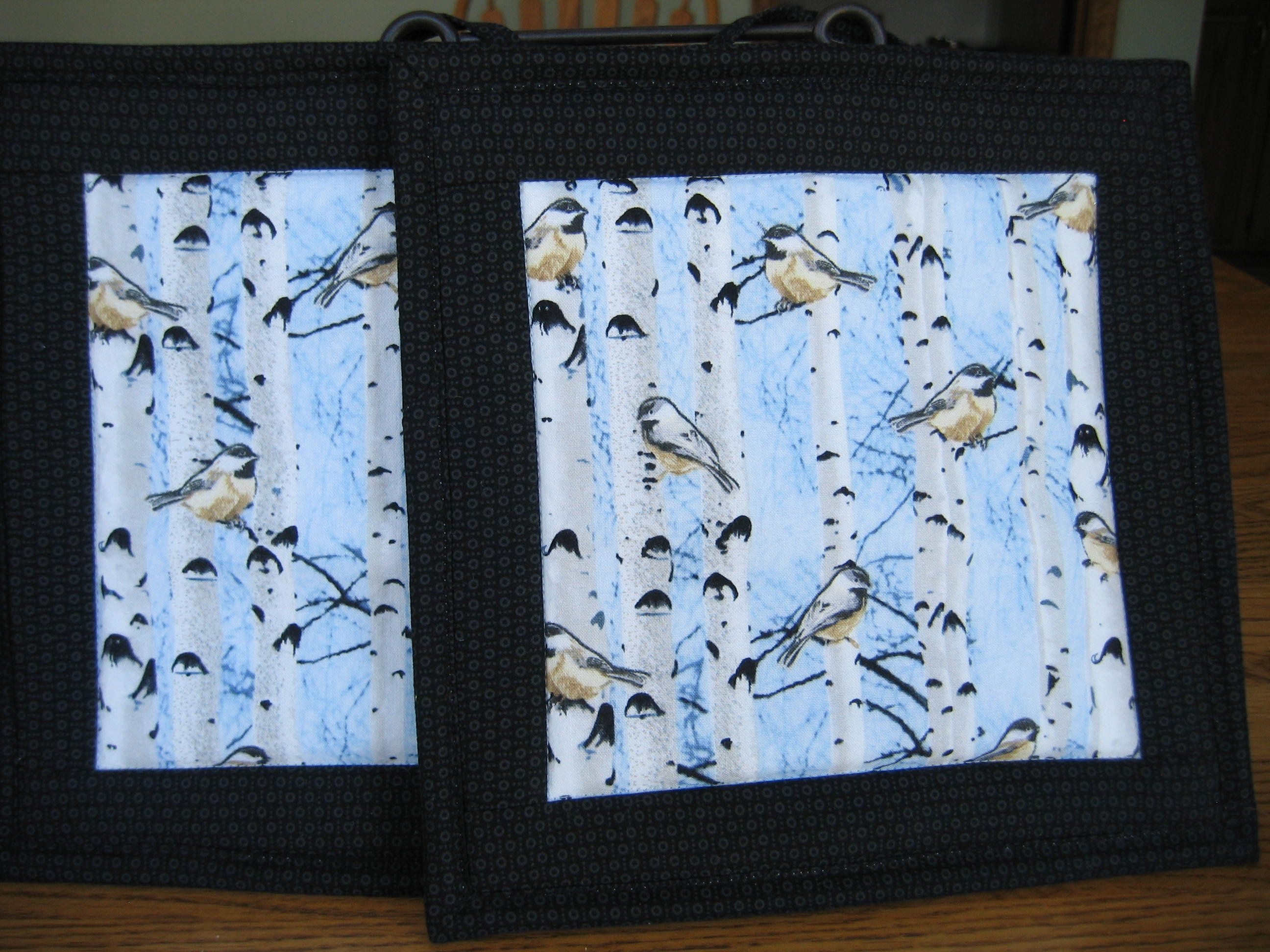 Quilted Pot Holders Adees Birch Trees Blue Cabin North