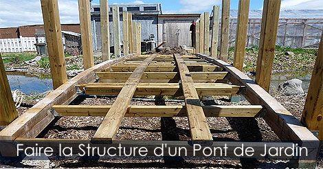 Construire la structure d 39 un pont d coratif pour tang bassin ou ruisseau de jardin plan pour - Fabriquer un pont en bois ...