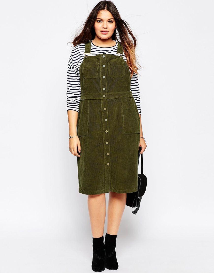 asos curve u2022 denim cord button through pinafore dress outfits rh pinterest com