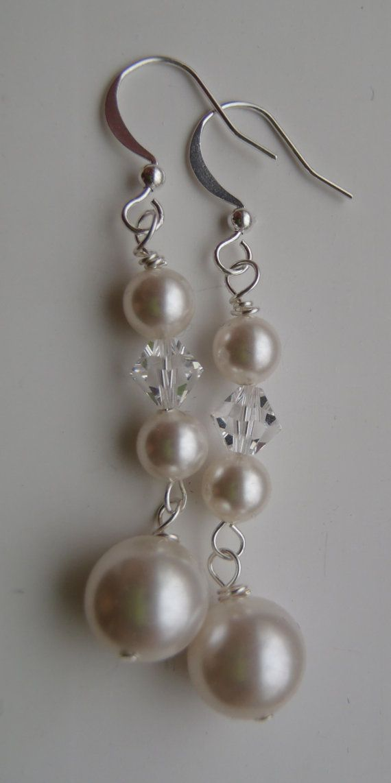 Items similar to Swarovski Pearl and Crystal Earrings – Bridal, Wedding on Etsy