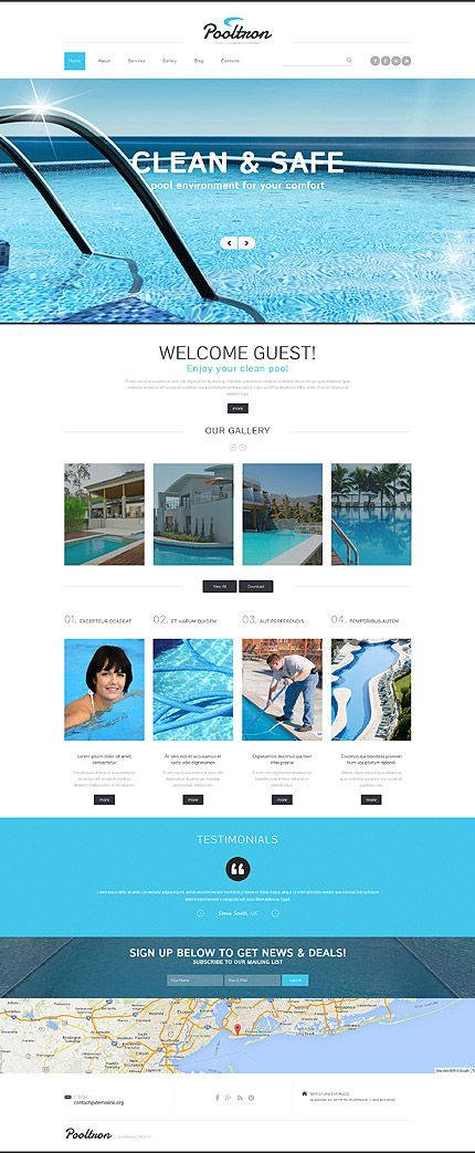 Pool cleaning company #Joomla #template #themes #business - guest check template