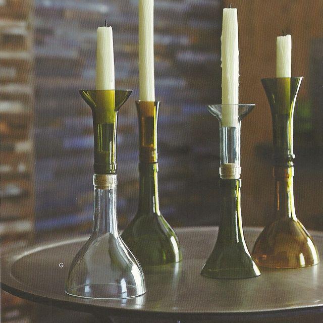 Wine bottle candle holders i home pinterest wine for Wine bottle candle holder craft