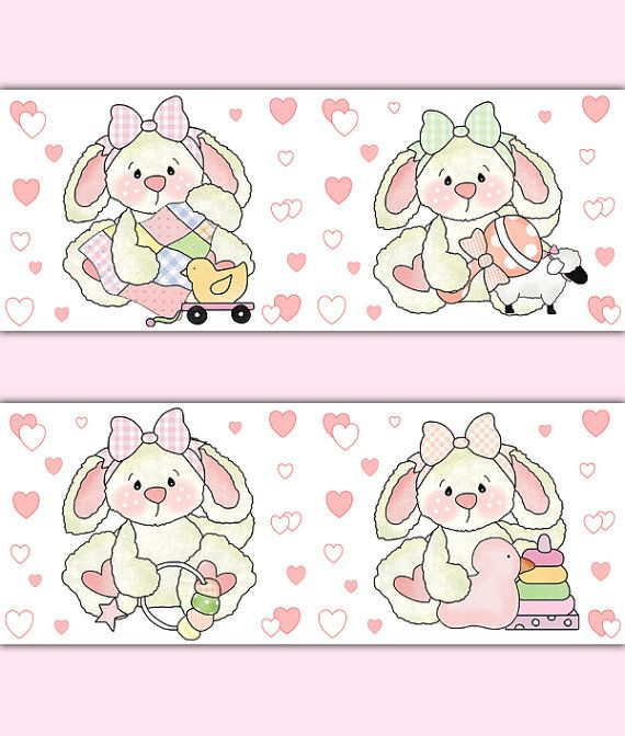 Bunny Rabbit Wallpaper Border Wall Art Decals Girls