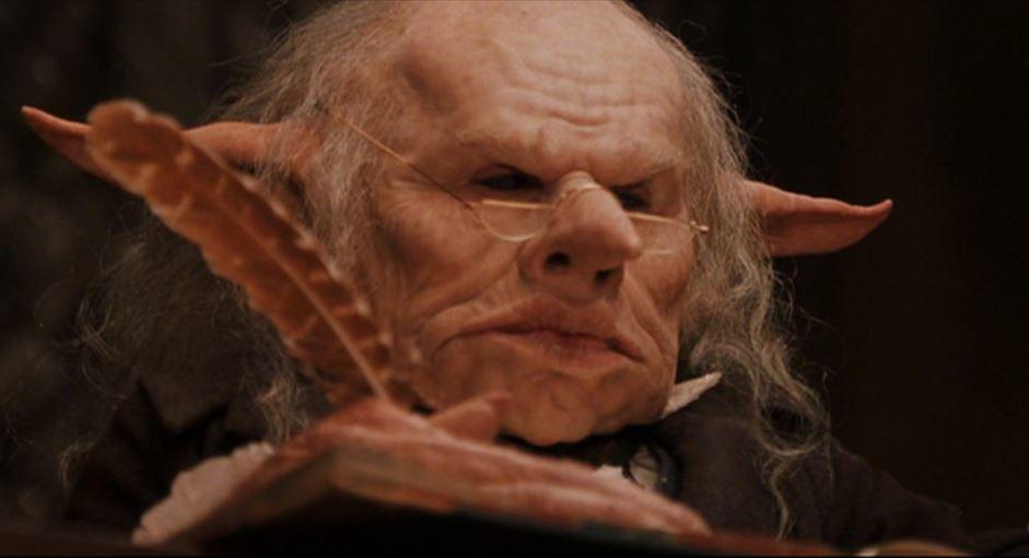 A Goblin Teller At Gringotts Bank Harry Potter Goblin Harry Potter Wiki Magical Creatures