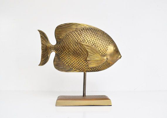 Large Brass Fish Statue by thewhitepepper on Etsy, $84.50