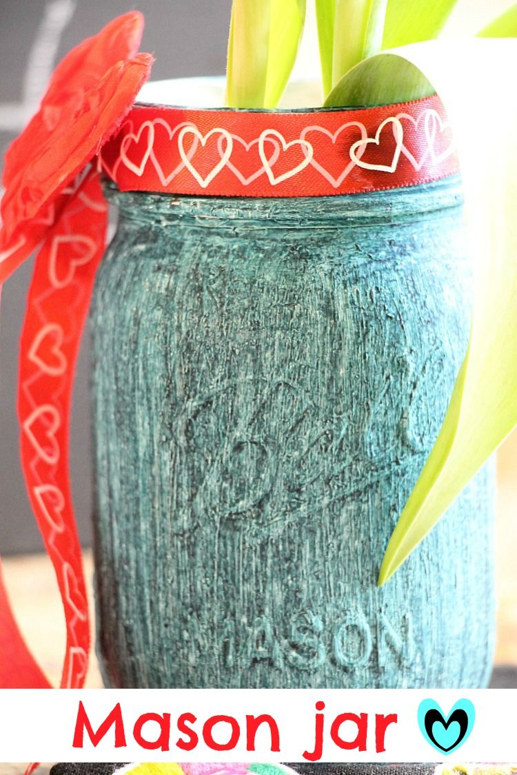 Painted #masonjar with #chalky-paint and #ritdye. Great texture and look!