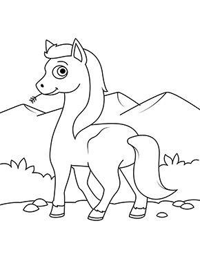 ausmalbild pferd in den bergen zum ausmalen. #ausmalbilder