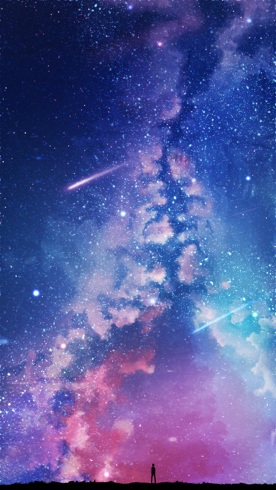 In The Starry Night Wallpaper Iphone Android Background Followme Galaxy Wallpaper Anime Scenery Wallpaper Night Sky Wallpaper