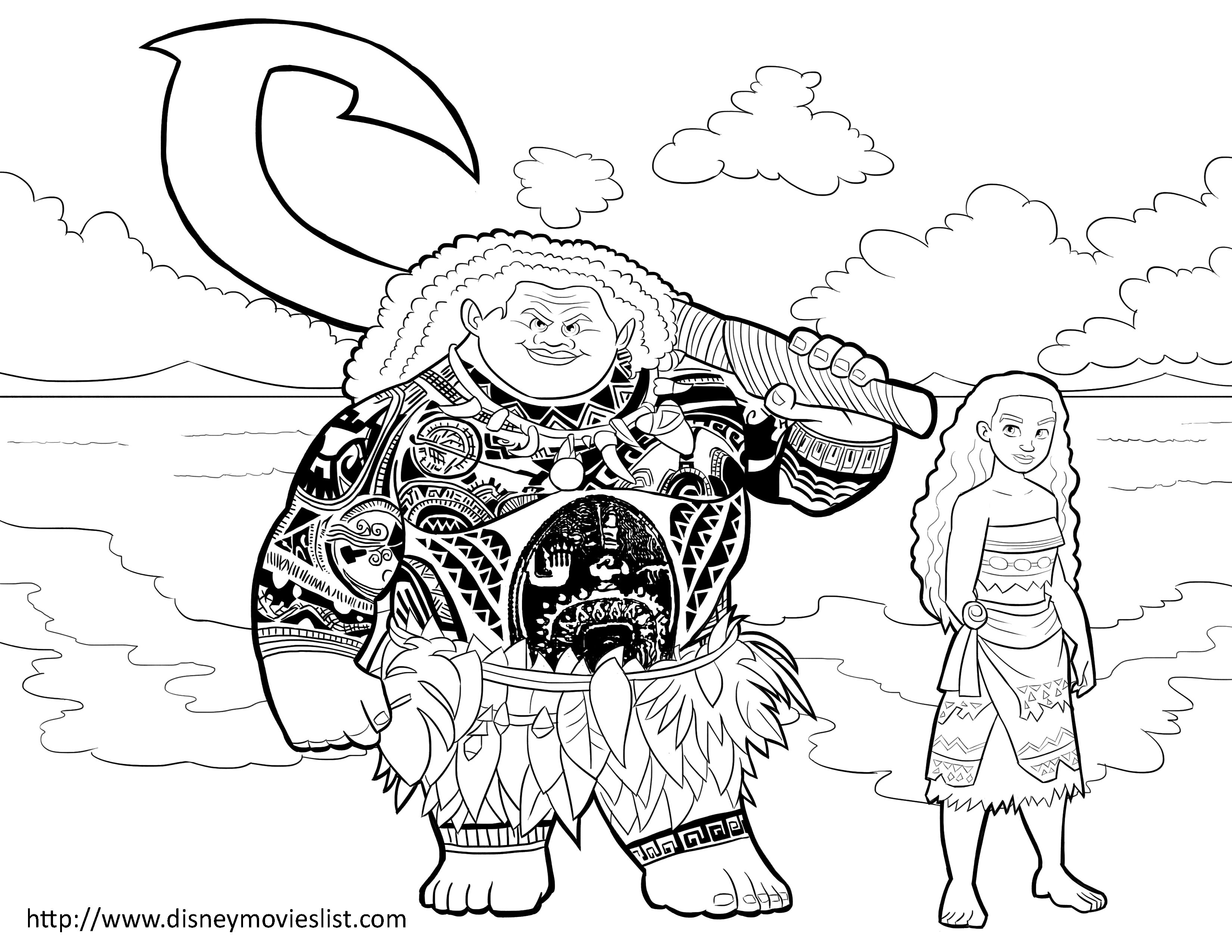 Moana and Maui Coloring Page, Printable Moana / Maui Coloring Sheet ...