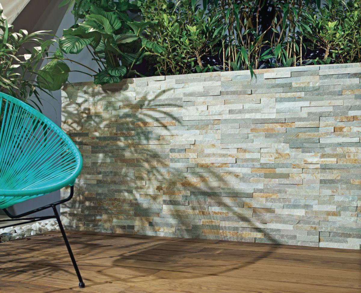 Parement Mural Pierre Naturelle Quartzite Gris Beige
